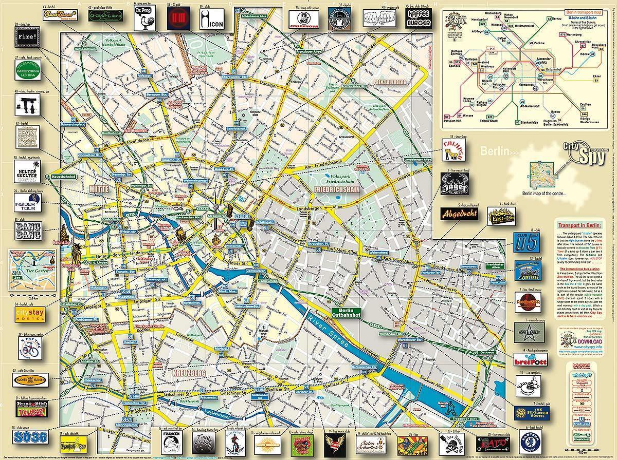 Berlin Atrakce Mapa Berlin Pamatky Mapa Nemecko